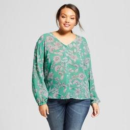 Women's Plus Size Floral Chiffon Long Sleeve  Blouse - A New Day™ Green
