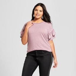 Women's Plus Size Ruffle Short Sleeve T-Shirt - Xhilaration™ Red