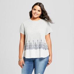 Women's Plus Size Mixed Media T-shirt - Xhilaration™ Heather Gray