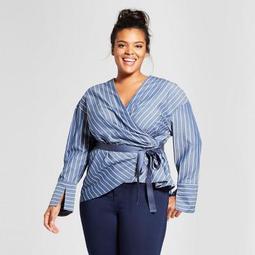 Women's Plus Size Long Sleeve Tie Waist Blouse - Who What Wear™