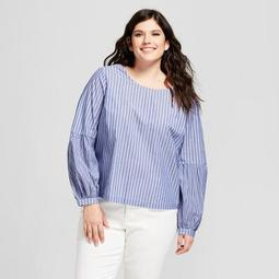 Women's Plus Size Poet Sleeve Corset Back Long Sleeve  Blouse - A New Day™ Blue