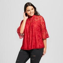 Women's Plus Size Two-Tone Illusion Lace Bell Sleeve Blouse - 3Hearts (Juniors')