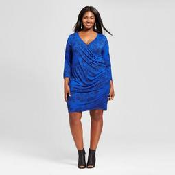 Women's Plus Size Knit Wrap Dress - Ava & Viv™ Blue