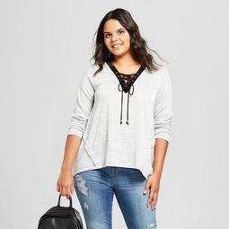 Women's Plus Size Lace Up Long Sleeve Sharkbite Hacci Tunic - 3Hearts (Juniors')