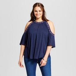 Born Famous Women's Plus Size Beaded Cold Shoulder Blouse