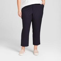 Women's Plus Size Striped Ankle Joggers - A New Day ™ Navy/White