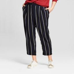 Women's Plus Size Stripe Crop Pants - Who What Wear ™ Blue