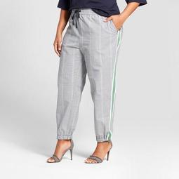 Women's Plus Size Plaid Woven Jogger - Who What Wear™ Green Plaid