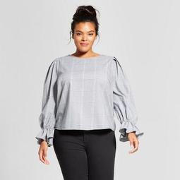 001fd9501cb758 Who What Wear Women's Plus Size Plaid Ruffle Long Sleeve Top - Who