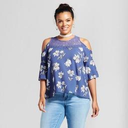 Women's Plus Size Floral Printed Cold Shoulder Blouse - Grayson Threads (Juniors')