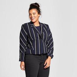 Women's Plus Size Long Sleeve Stripe Blazer - Who What Wear™ Dark Blue