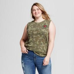 Women's Plus Size No Chance for Romance Hacci Graphic Tank Top Camo Green - Modern Lux
