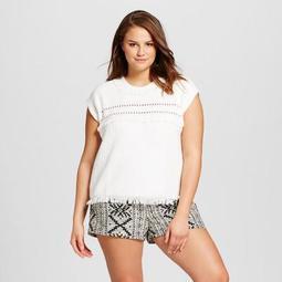 Women's Plus Size Short Sleeve Fringe Sweater - Who What Wear™ Cream
