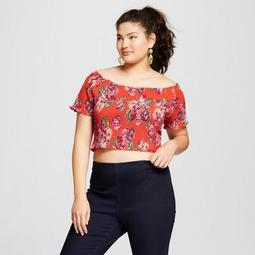 Women's Plus Size Short Sleeve Floral Print Smocked Top - Xhilaration™ Red