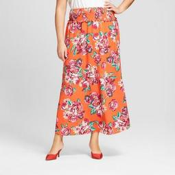 Women's Plus Size Floral Print Maxi Skirt - Xhilaration™ Red