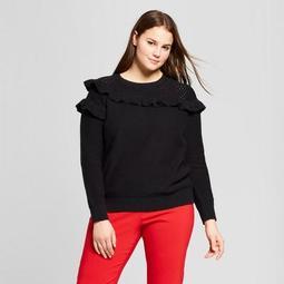 Women's Plus Size Long Sleeve Mesh Mix Ruffle Crew - Who What Wear™