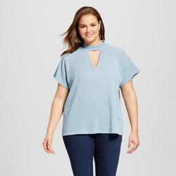 Women's Plus Size Choker Neckline Short Sleeve Blouse - Le Kate (Juniors')
