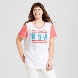 Women's Plus Size USA Americana Ringer T-Shirt White - Modern Lux