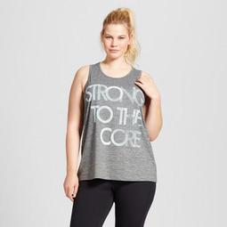 """Women's Plus-Size Graphic Tank Top - C9 Champion® - Black Heather, """"Strong To The Core"""""""