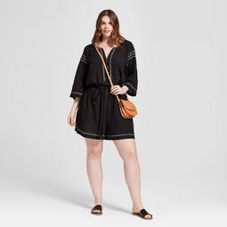 Women's Plus Size Embroidered Romper - Universal Thread™ Black