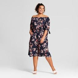 Women's Plus Size Floral Off the Shoulder Jumpsuit - Xhilaration™ Navy