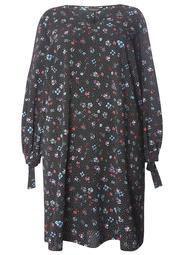 DP Curve Polka Dot Floral Print V-Neck Tie Shift Dress