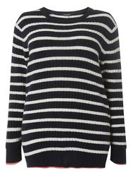 DP Curve Navy and Ivory Striped Slouchy Jumper