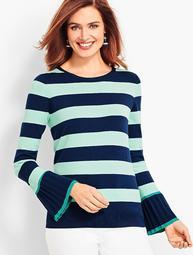 Stripe Tipped-Cuff Sweater