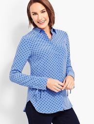 Washable Silk Camp Shirt-Dot-Print