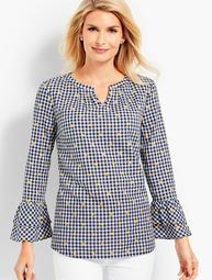 Gingham Embroidered-Flower Popover