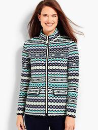 Fair Isle Print Fleece Jacket