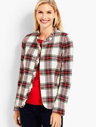 Ruffle-Trim Shetland Tartan Plaid Jacket