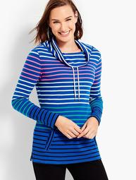 Funnel-Neck Top-Stripe