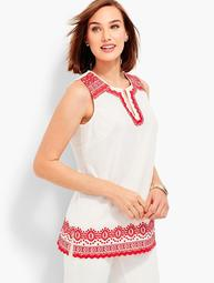 Embroidered Poplin Shell