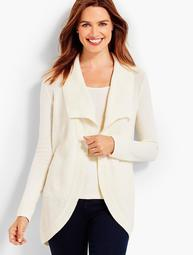 Wing-Collar Waffle-Stitched Cocoon Cardigan