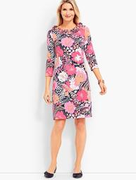 Flower Print Ruffle Jersey Shift Dress