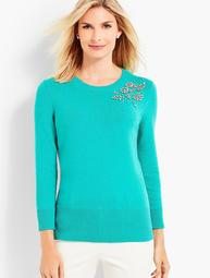 Beaded Corsage Sweater