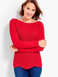 Scallop-Hem Bateau Sweater