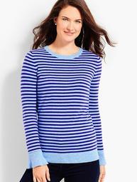 Striped Flounce-Sleeve Crewneck Sweater
