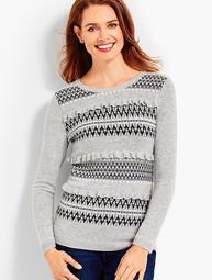Ruffle-Front Fair Isle Sweater