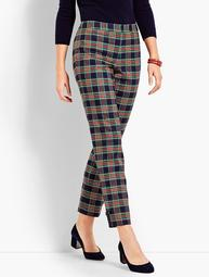 Traditional Plaid Straight Ankle Pant
