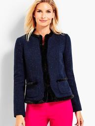 Faux-Fur Trimmed Shetland Jacket