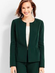 Seasonless Crepe Jewel-Neck Jacket