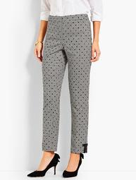 Gingham Polka-Dot Ankle Pant