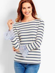 Stripe Ruffle Woven-Cuff Top