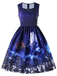 Christmas Square Neck Sleeveless 50s Swing Dress - Blue - M