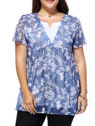 Sweet Plus Size V Neck Tiny Flower Pattern Women's Blouse - Blue - L