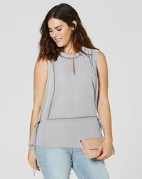 Ladder Insert Top With Peplum Hem