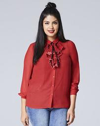 Pleat Front Frill Blouse