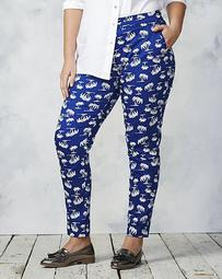 Cotton Sateen Palm Print Ankle Grazer Pants